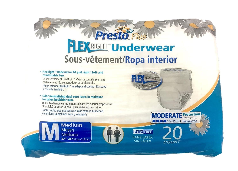 Amazon.com: PRTAUB14020 - Presto Absorbent Products Inc. Presto Flex Right Protective Underwear Medium 32 - 44 Good Absorbency: Health & Personal Care