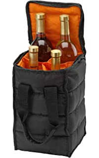 Amazon.c | Vina 2 Bottle Wine Tote Carrier, Portable Insulated ...