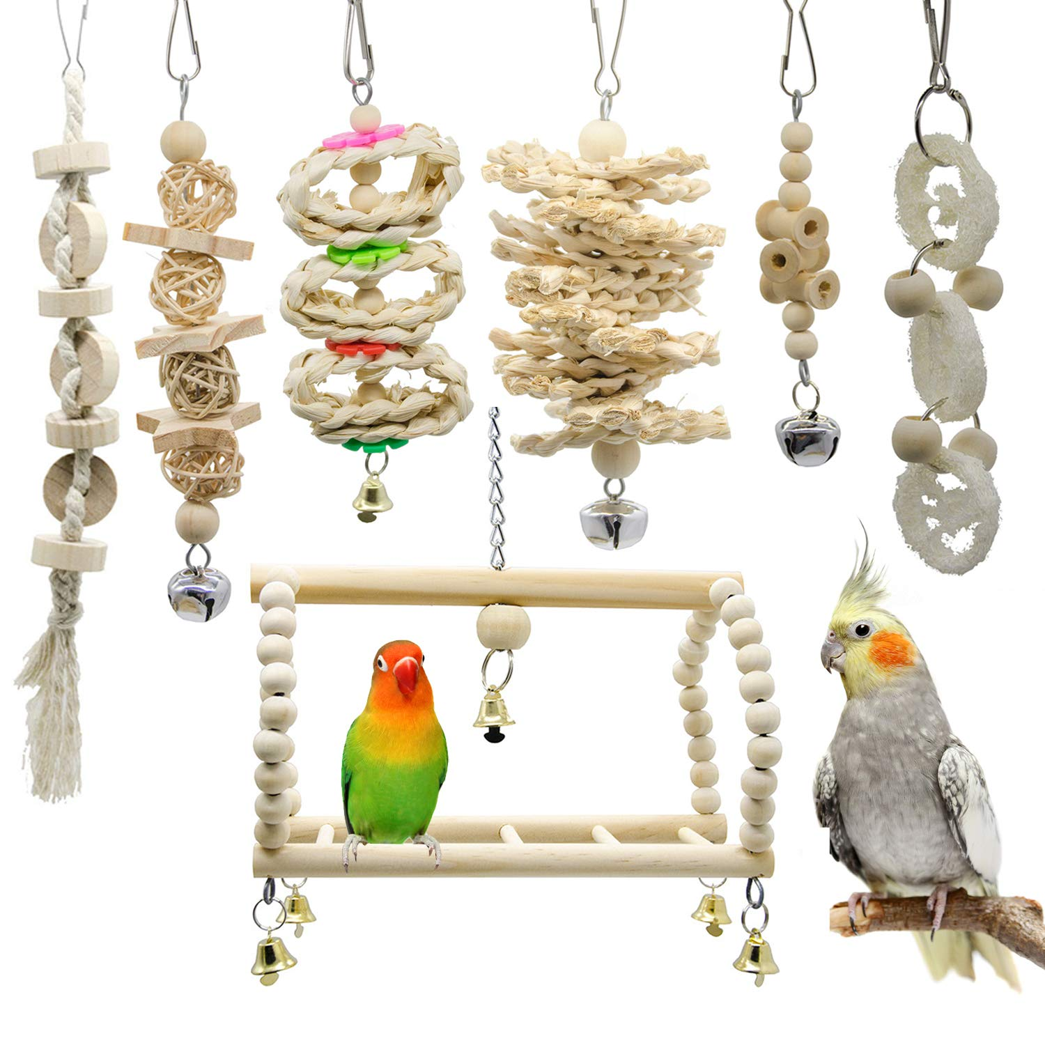 Deloky 7 Packs Bird Parrot Swing Chewing Toys- Natural Wood Hanging Bell Bird Cage Toys Suitable for Small Parakeets, Cockatiels, Conures, Finches,Budgie,Macaws, Parrots, Love Birds by Deloky