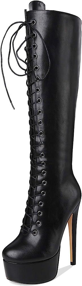 Platform High Heels Knee High Boots