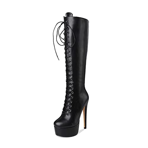 e5e85e81e51 Onlymaker Women's Sexy Platform Front Lace-Up High Heel Stiletto Stretch  Over The Knee High Boot