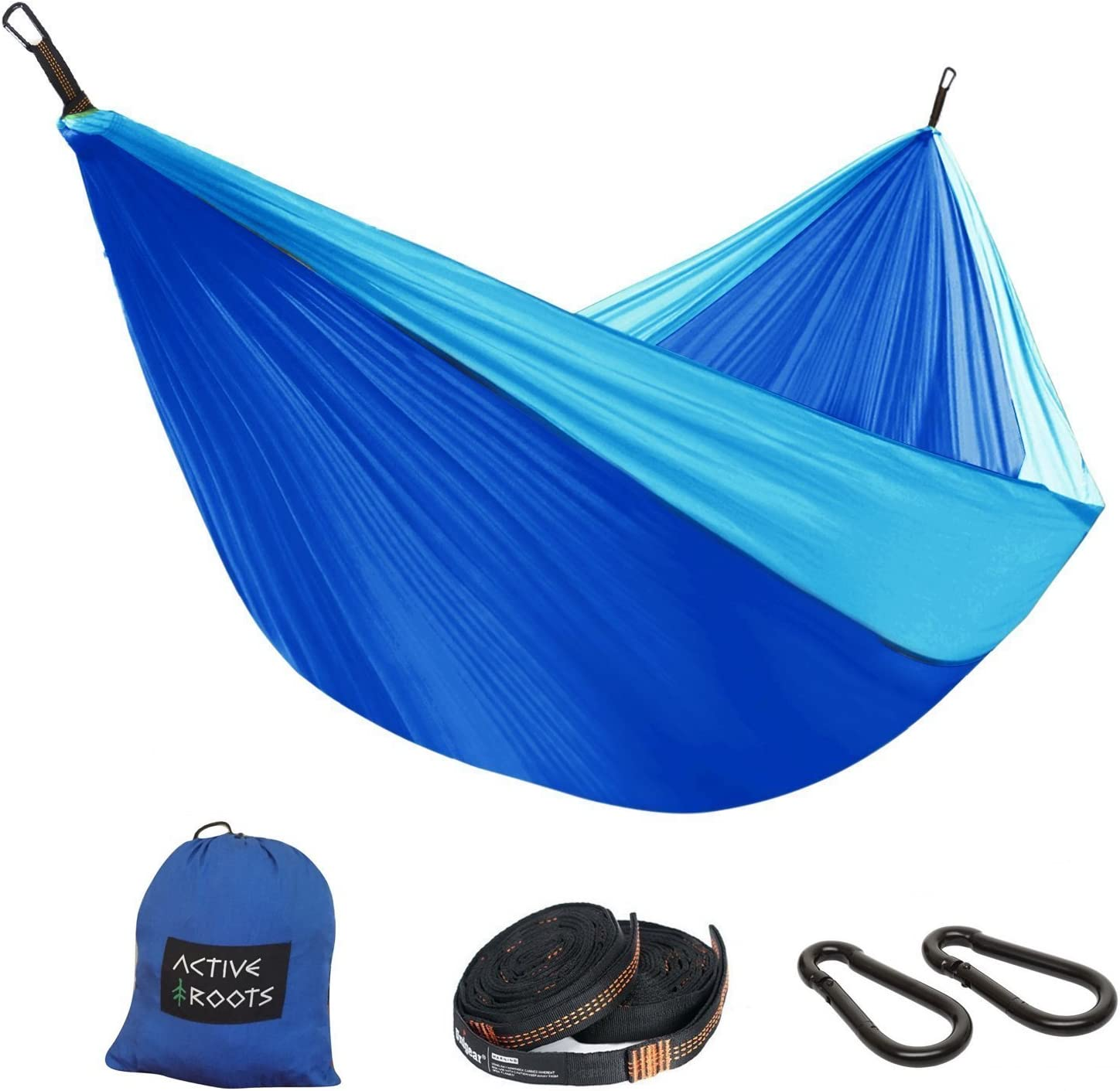 Portable Hammock Active Roots Double Camping Hammock with Tree Straps Outdoor Parachute Nylon Lightweight Hammock for Backpacking Travel Indoor
