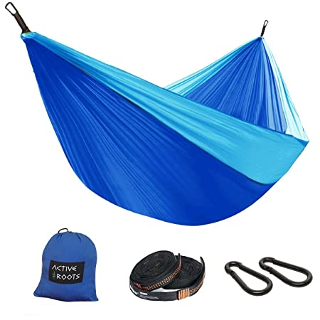 Active Roots Double Camping Hammock with Tree Straps – Portable Hammock, Parachute Nylon Lightweight Hammock for Backpacking, Travel, Indoor, Outdoor