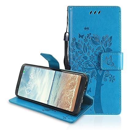 Funda Galaxy S9 Cuero, Galaxy S9 Carcasa Libro, Moon mood Funda Piel de Cuero