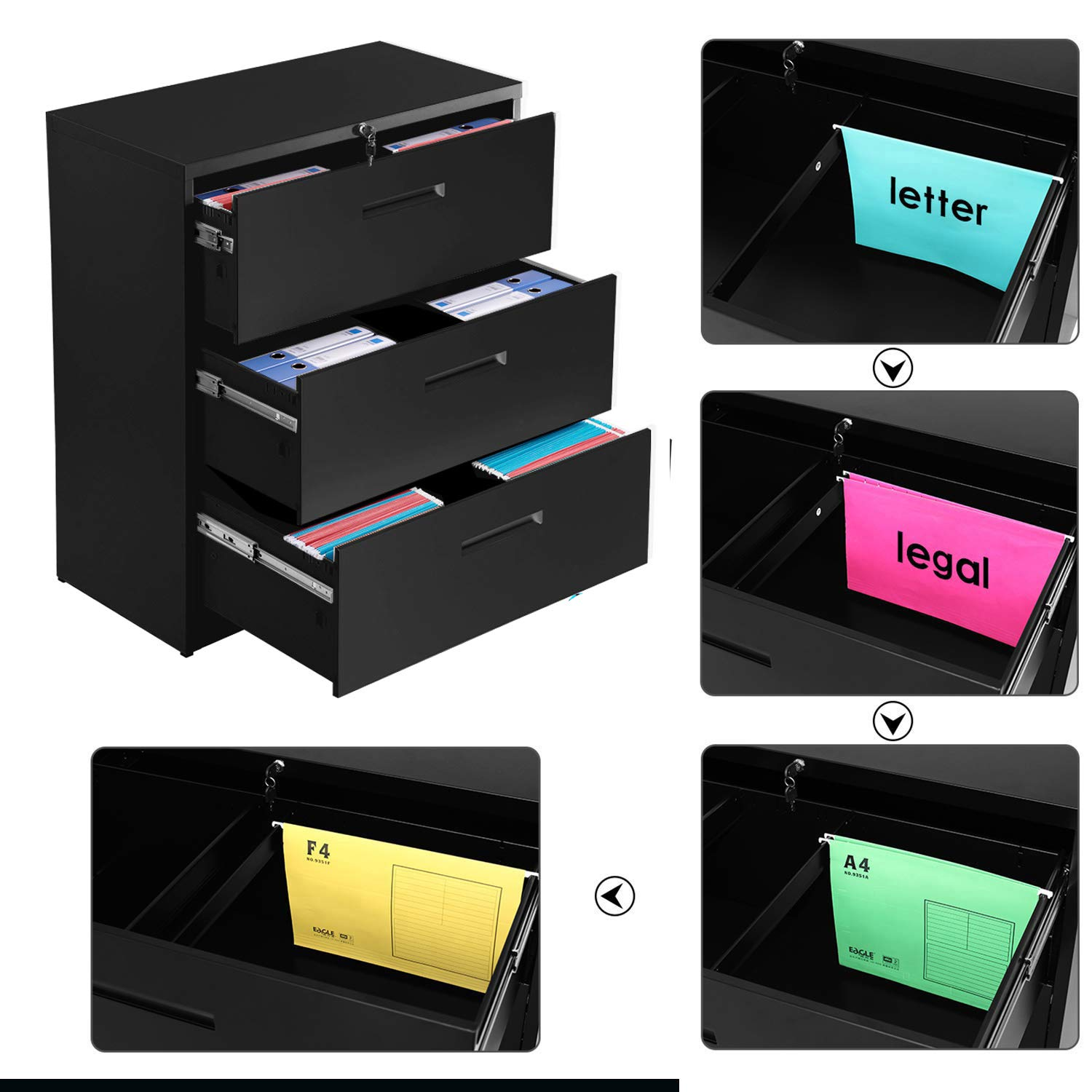 Merax lateral File Cabinet 2 Drawer Locking Filing Cabinet 3 Drawers Metal Organizer with Heavy Duty Hanging File Frame for Legal & Business Files Office Home Storage by Merax (Image #3)