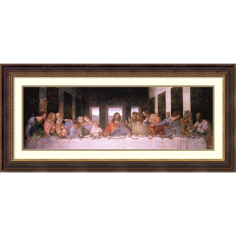 Framed Art Print, 'The Last Supper (Detail)' by Leonardo da Vinci: Outer Size 45 x 21'' by Amanti Art
