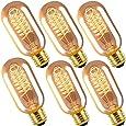 INNOCCY Edison Light Bulb, 40W E26 E27 Vintage Bulb Dimmable T45 Antique Tubular Light Bulb, 2300K, Pack of 6