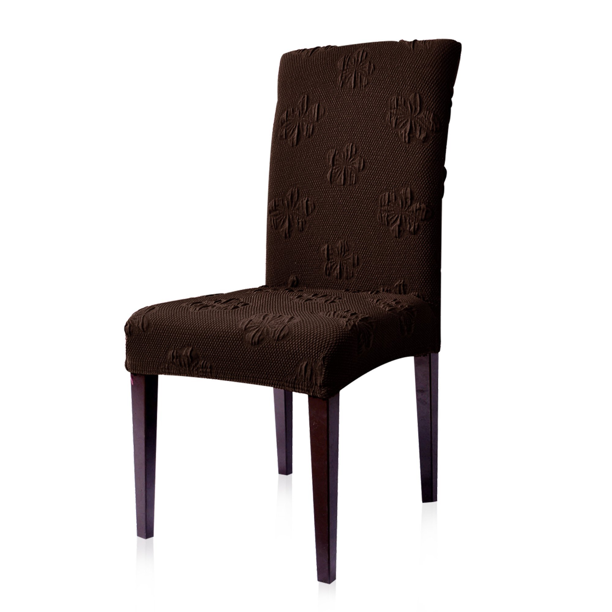 Subrtex Jacquard Stretch Dining Room Chair Slipcovers (4, Chocolate Flower)