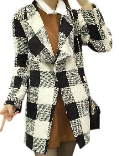 Frieda Fashion - Abrigo - Cuadrados - para mujer Weiß Large