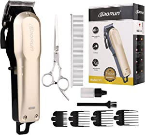 Baorun Dog Clippers, Professional Pet Grooming Kit - Rechargeable. Heavy Duty Cordless Clipper Low Noise for Small, Medium, and Large Dog, Cat, Horse and Other Pets