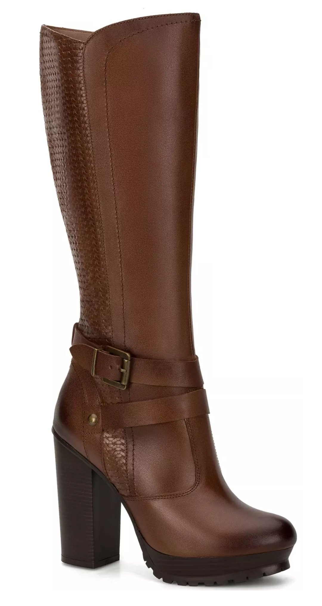 Andrea Shoes Women's Brown Leather Smooth & Engraved Texture Metallic Buckle Platform High Boot (7)