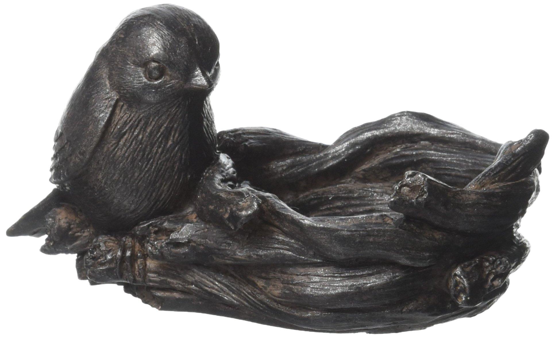 Abbott Collection Small Bird & Nest Votive Holder, Dark Brown