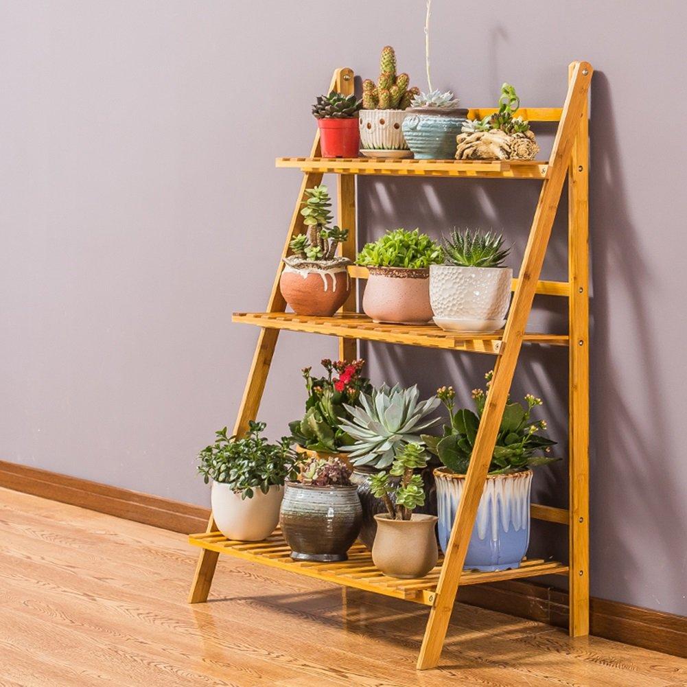 Bamboo Flower Stand Indoor Living Room Mensola a più Strati con fioriera a più Strati (colore   3 Strati, Dimensioni   70cm-Length)