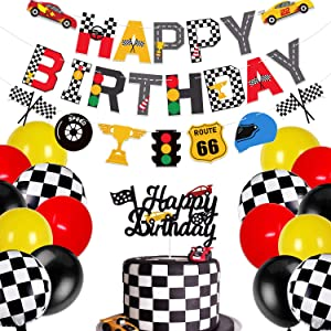 Race Car Birthday Banner and Cake Topper Racing Chequered Flag Hot Wheel Themed Birthday Party Supplies