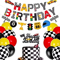 Race Car Birthday Party Decoration Kits - Include Cake Topper, Banner and Balloons - Racing Chequered Flag Hot Wheel…