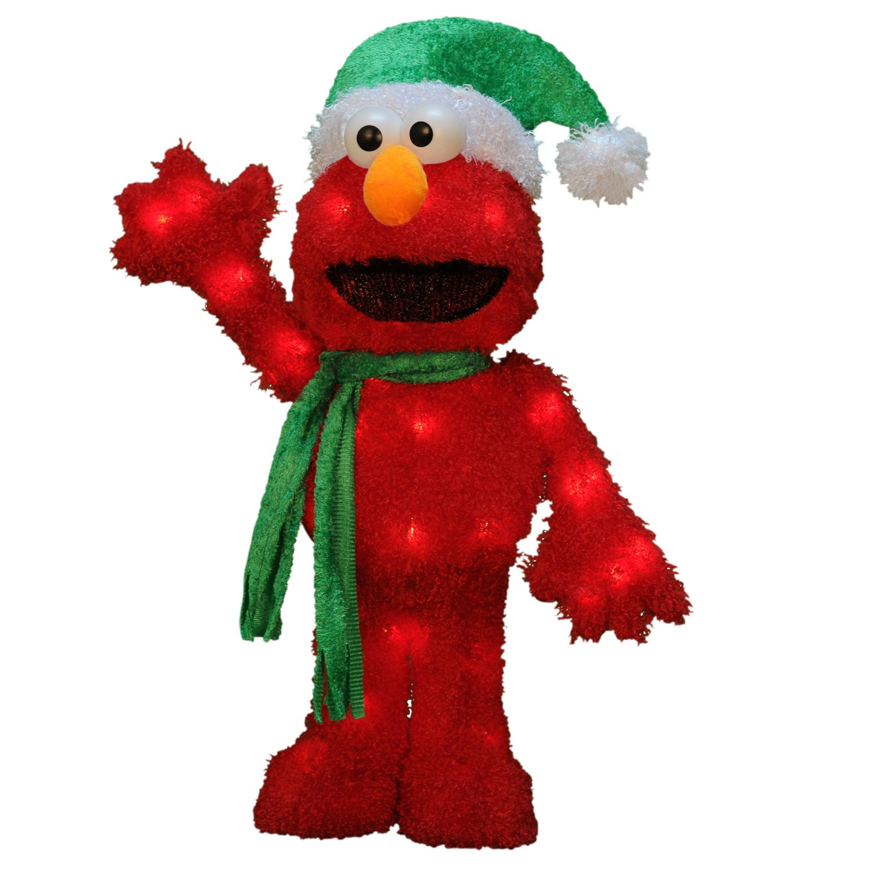 ProductWorks 18-Inch 3D Pre-Lit Sesame Street Waving Elmo Christmas Yard Decoration, 35 Lights