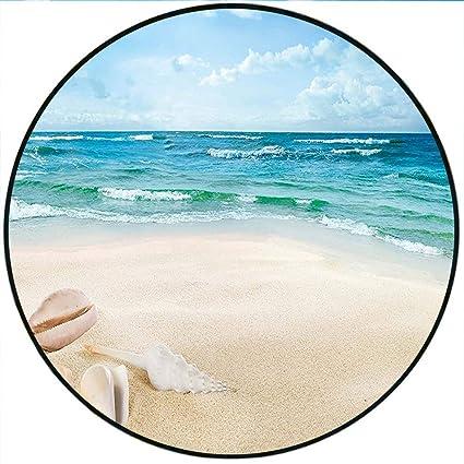 Amazon.com: Short Plush Modern Round Carpet mat Beach Sand ...