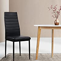 Artiss Dining Chairs Set of 4, Leather Upholstered Dining Chairs with Metal Legs, Black