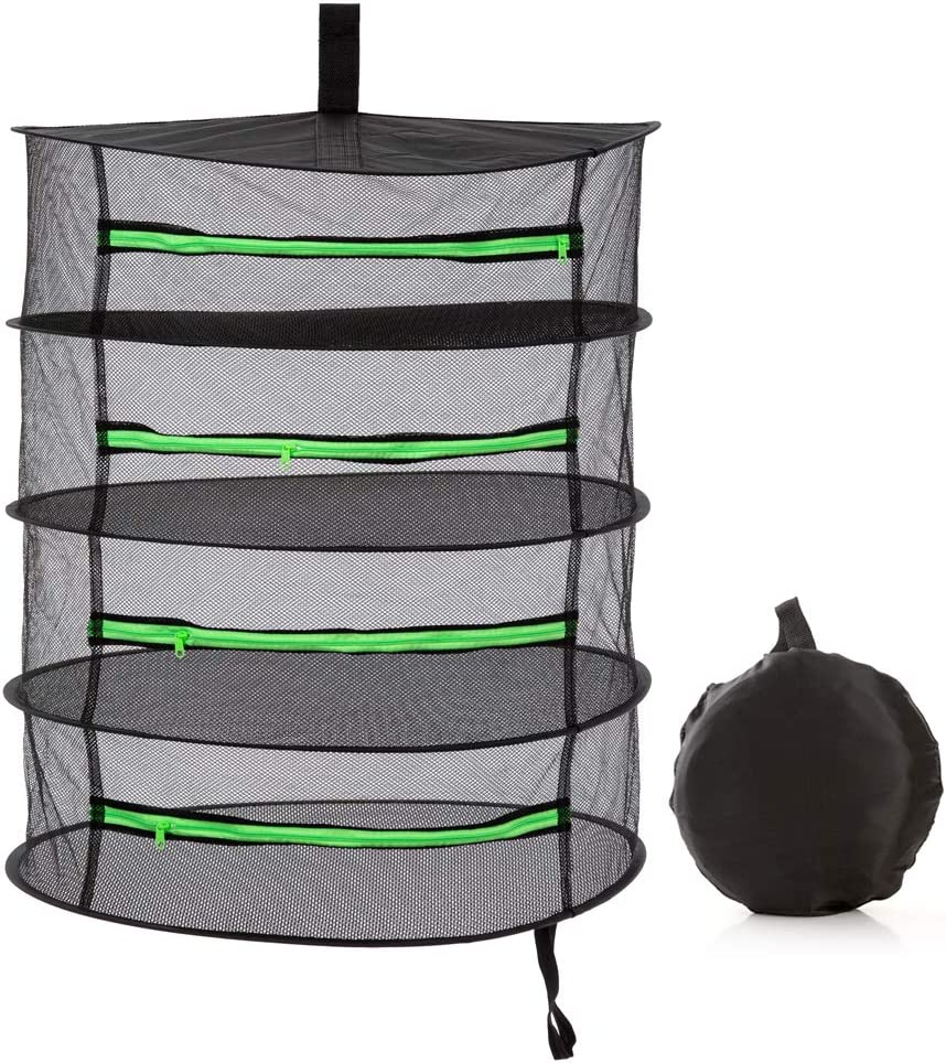 Herb Drying Rack Hanging 4 Tier 2ft Black Mesh Dryer Dry Net with Zipper Hydroponics