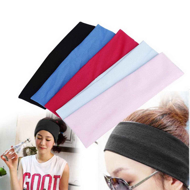Wekold Women's Wide Sports Yoga Stretch Elastic Solid Hair Band Headband
