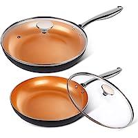 "MICHELANGELO Copper Frying Pan Set with Lid, 8"" & 10"" Frying Pan Set, Nonstick Frying Pan Set, Copper Pans with Lid…"