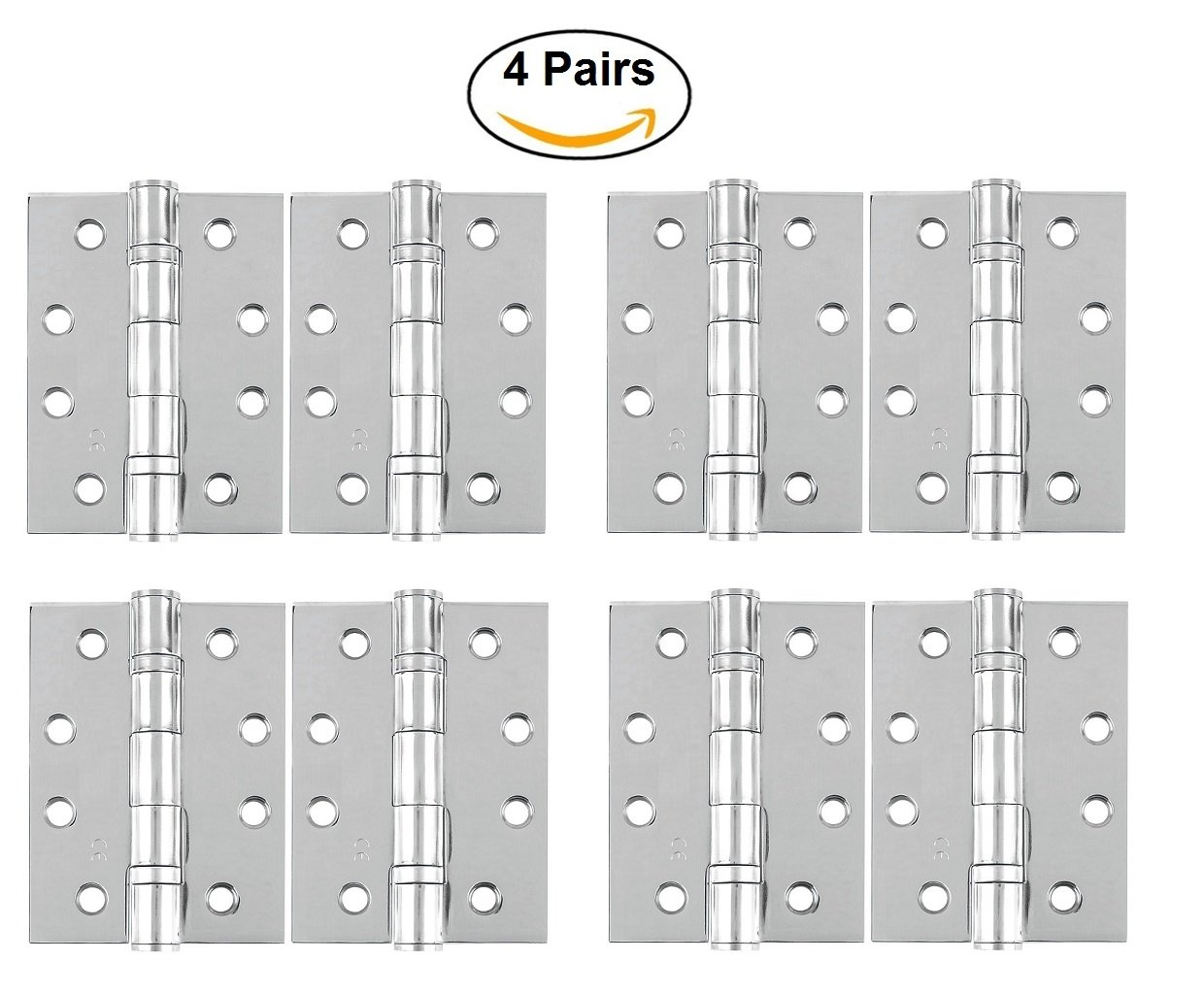 Door Hinge [By XFORT] 4 inch (100mm) Ball Bearing Door Hinges, Fire Door Hinge Grade 11 Fire Rated to BS EN 1935 Standards, Ideal for Internal & External Doors (2 Pairs Polished Chrome) Maher London Ltd