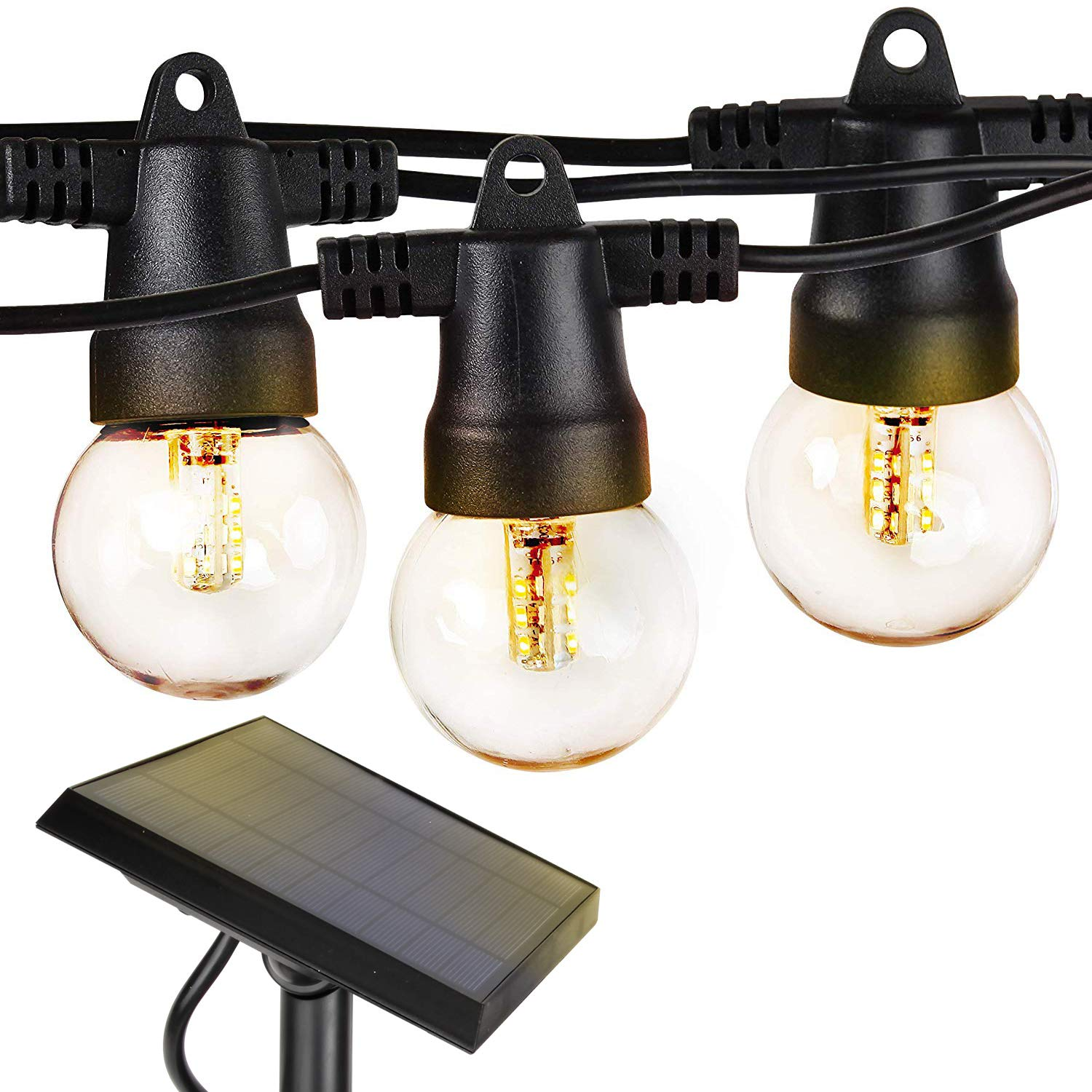 Brightech Ambience Pro - Waterproof Solar LED Outdoor String Lights - 1W Retro Edison Filament Bulbs - 27 Ft Globe Lights Create Bistro Ambience In Your Yard, Pergola - Soft White by Brightech