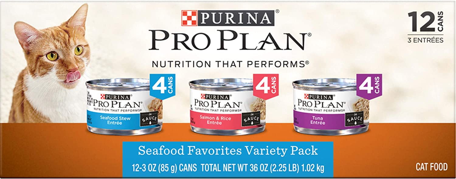 Purina Pro Plan Wet Cat Food Variety Pack, Seafood Favorites - (2 Packs of 12) 3 oz. Cans