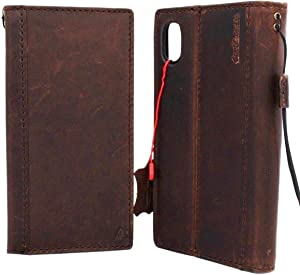Genuine Leather Case for iPhone Xs max Book Wallet Handmade Cover Luxury Cards Slots Rubber Holder Strap Vintage Classic DavisCase pro xsmax