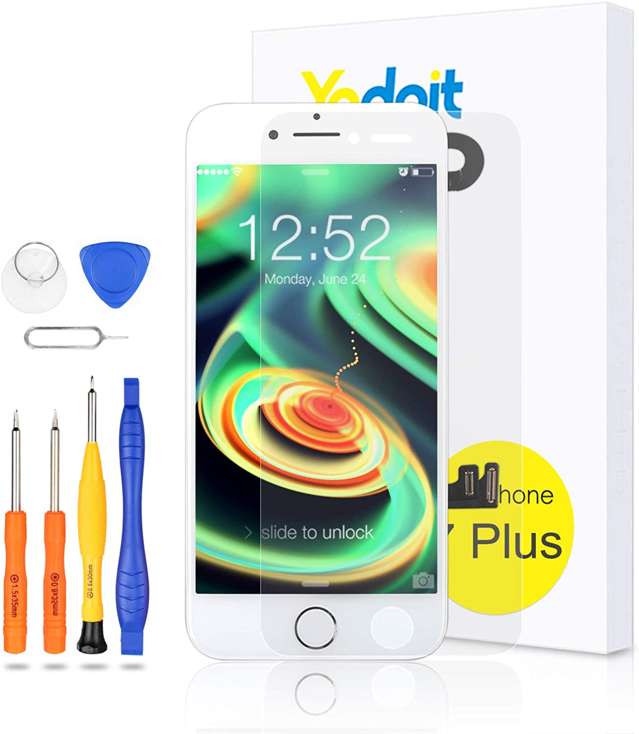 Yodoit for iPhone 7 Plus Screen Replacement White with Home Button, Front Camera, Ear Speaker, Full Assembly 5.5