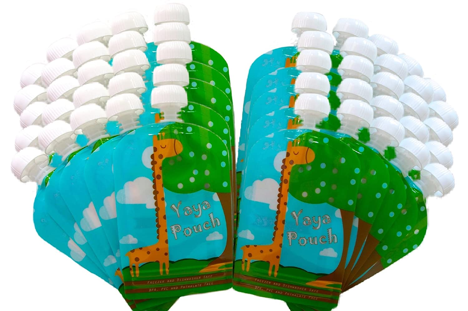 Reusable Food Pouch (50 Pack) 5 oz Squeeze Pouches Refillable BPA Free Pouch for Baby and Toddler