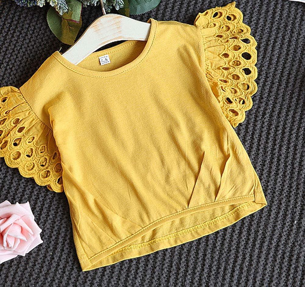 FCQNY Kids Girls Summer Short Sleeve Hollow Tee Tops+Shorts Sets 2Pcs