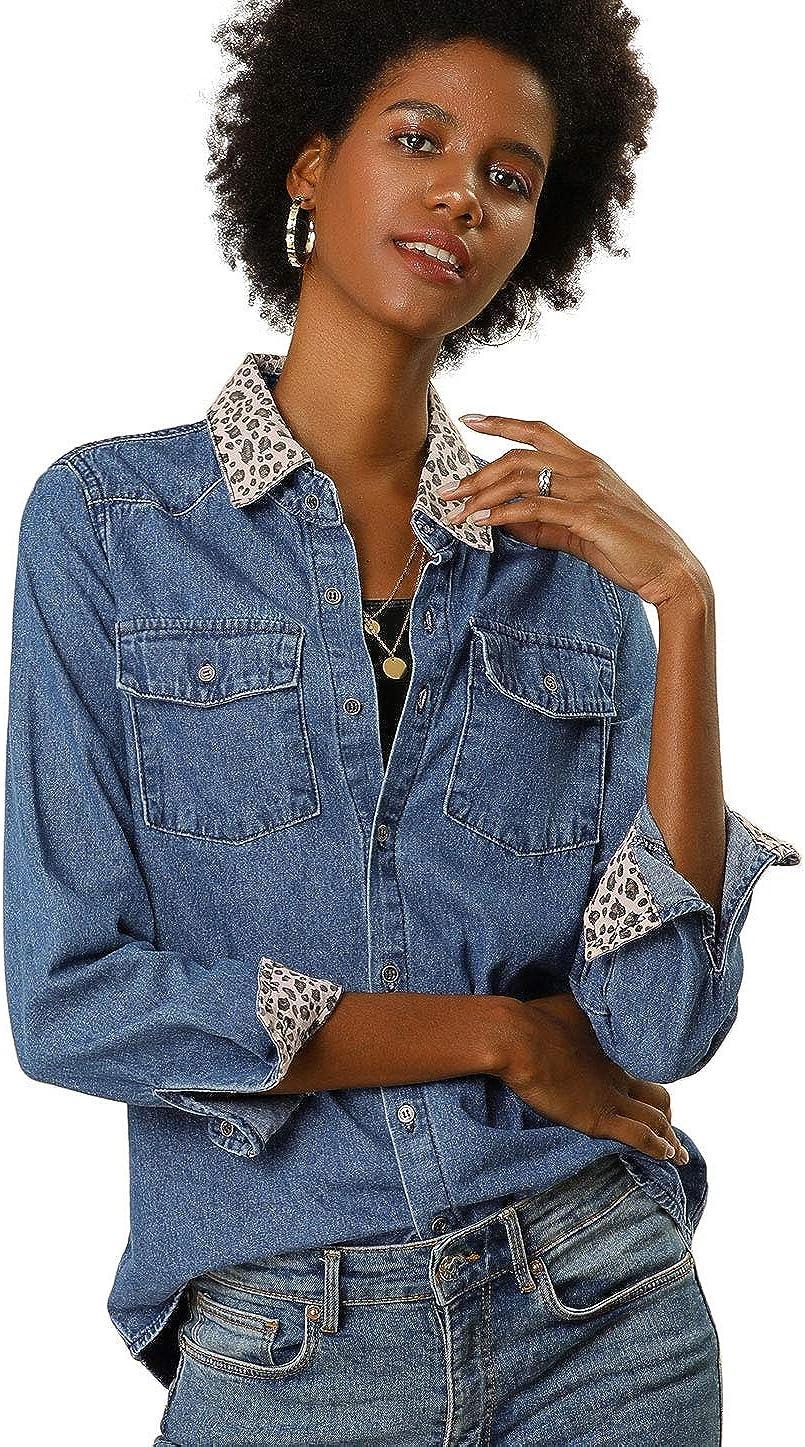 Allegra K - Camisa vaquera de manga larga con estampado de leopardo para mujer: Amazon.es: Ropa y accesorios