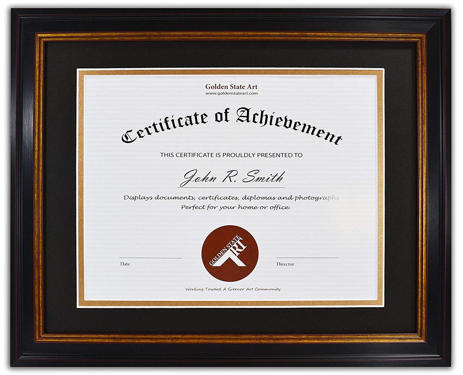 Golden State Art, 11x14 Frame for 8.5x11 Diploma/Certificate, Black Gold & Burgundy Color. Includes Black Over Gold Double Mat and Real Glass by Golden State Art