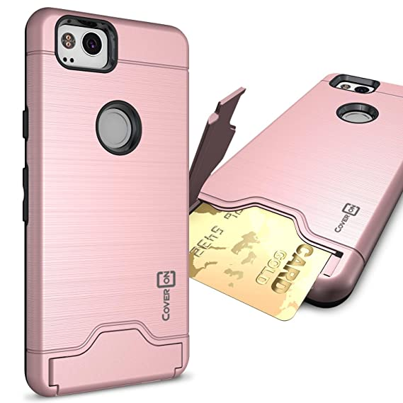 online store 36b19 3e478 Google Pixel 2 Case with Card Holder, CoverON SecureCard Series Protective  Phone Cover with Credit Card Holder Slot - Rose Gold