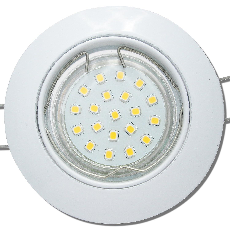 7 Stück SMD LED Einbaustrahler Fabian 12 Volt 3 Watt Schwenkbar Weiß Warmweiß
