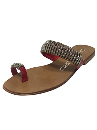 026398510ae1b Oroscuro Made in Italy Italian Designer Womens Ladies Flat Leather Sole  Sandals Open Toe Jewel Buckle Ankle Strap Flats Summer Beach Holiday Shoes  Size 2 3 ...