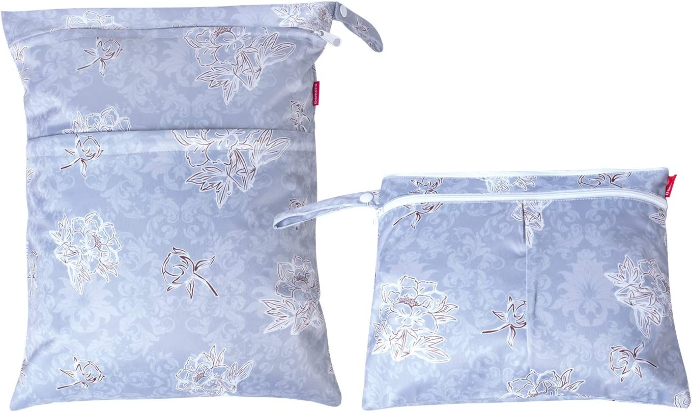 Damero 2pcs//Set Wet Dry Bags Daycare Organiser Bag Travel Diaper Organiser Bag for Babys Nappies Reusable Wet Bag Flowers Brown Dirty Clothes and More