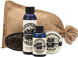product image for Beard Grooming Care Kit for Men by Mountaineer Brand | Beard Oil (2oz), Conditioning Balm (2oz), Wash (4oz), Brush (WV Pine Tar)