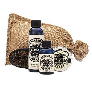 Beard Grooming Care Kit for Men by Mountaineer Brand | Beard Oil (2oz), Conditioning Balm (2oz), Wash (4oz), Brush (WV Pine Tar)