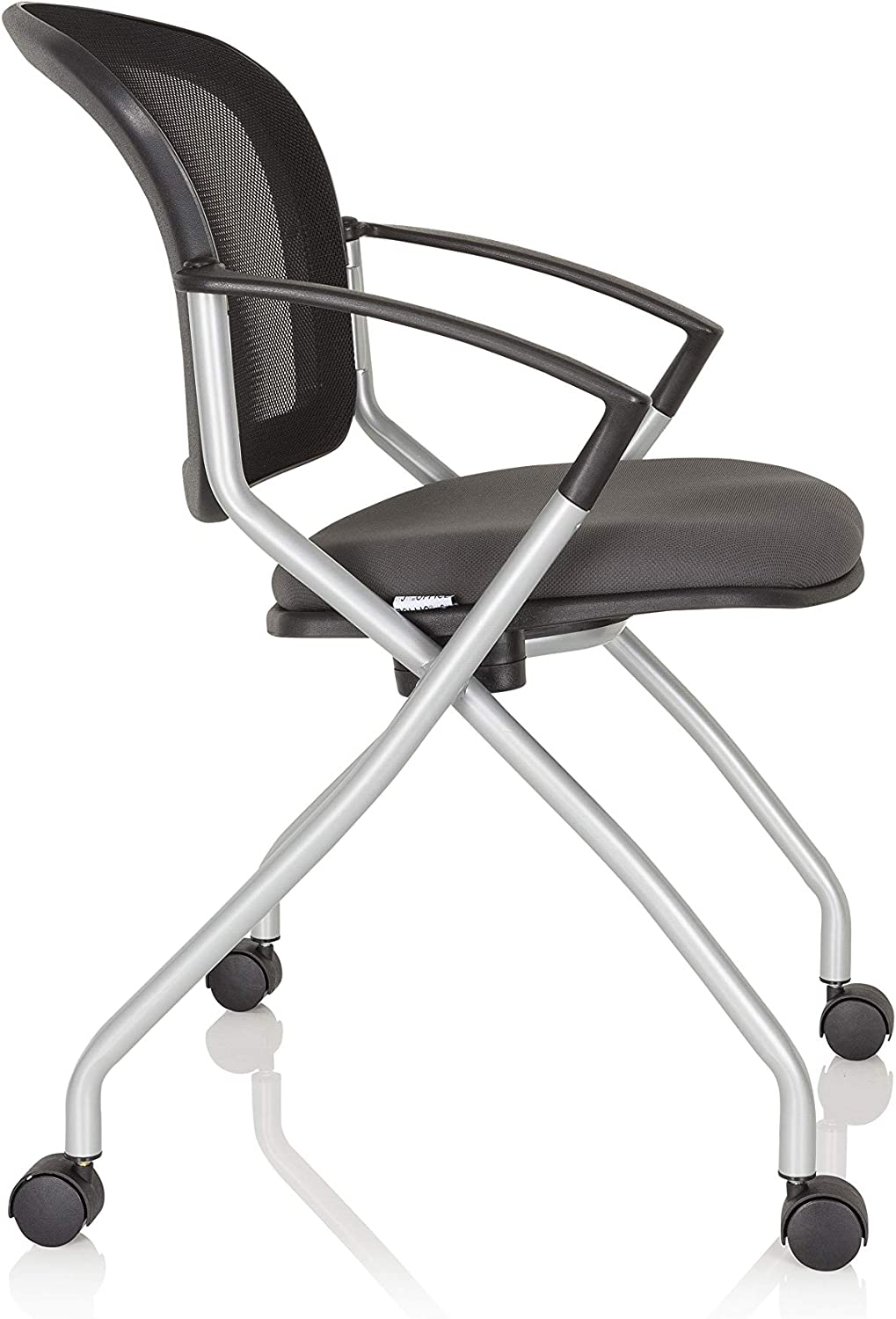 hjh OFFICE 760002 conference chair PRIORITY BASIC 2 per pack mesh//fabric grey black visitor chair with castors and armrests
