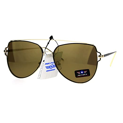 edb3bc7d4fa Air Force Flat Top Bar Squared Retro Pilots Metal Rim Sunglasses All Gold