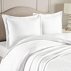 "Nestl Bedding Duvet Cover 3 Piece Set – Ultra Soft Double Brushed Microfiber Bedding – Damask Dobby Stripe Comforter Cover and 2 Pillow Shams - Full/Queen 90"" x 90"" - White"