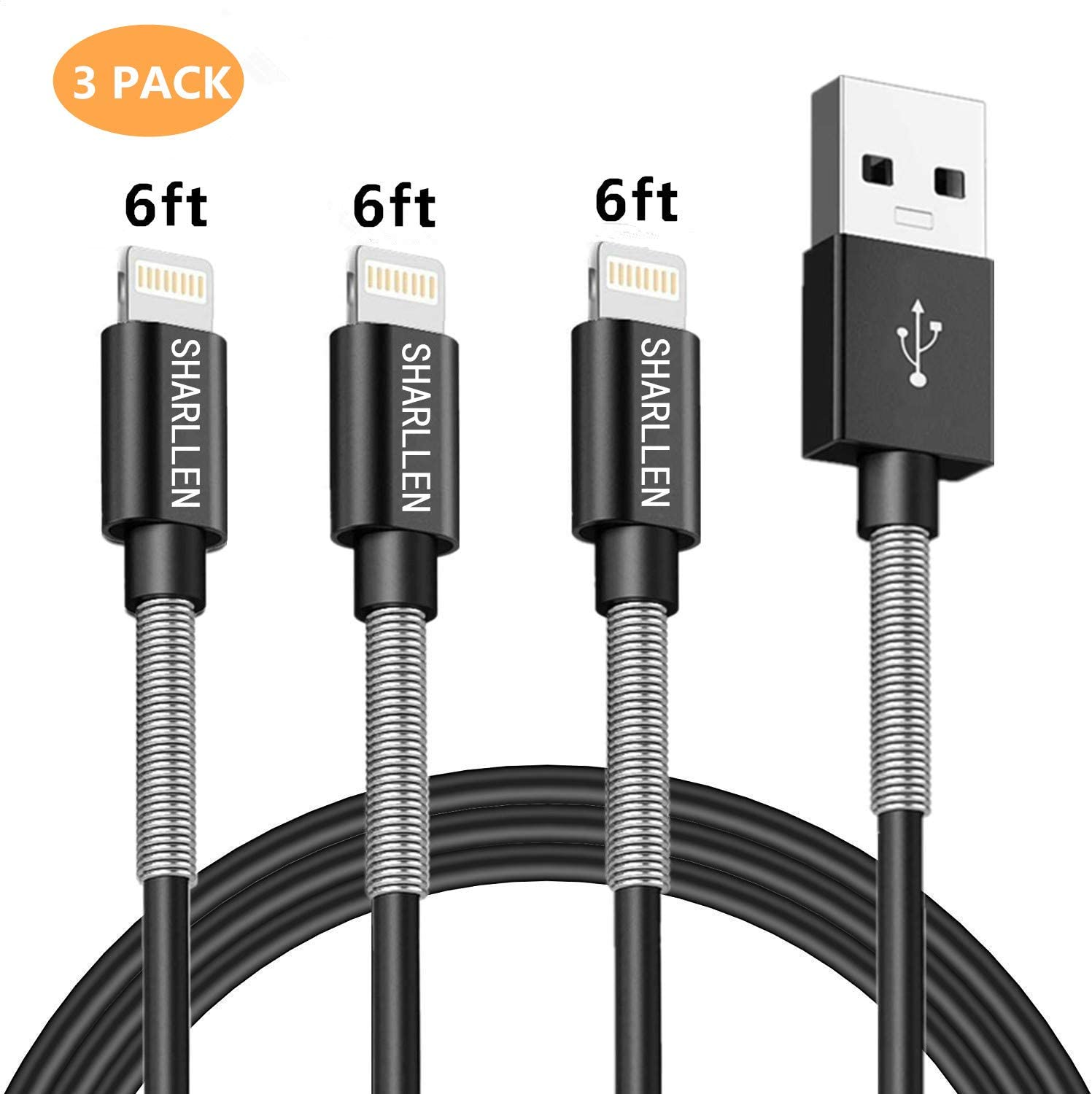 iPhone Charger Cable Mfi Certified Sharllen 3 Pack 6FT Lightning Cable Spring Fast Charging Long Cord USB Charging Cable Compatible iPhone XS Max XR X 8 8Plus 7 7P 6S iPad iPod Black