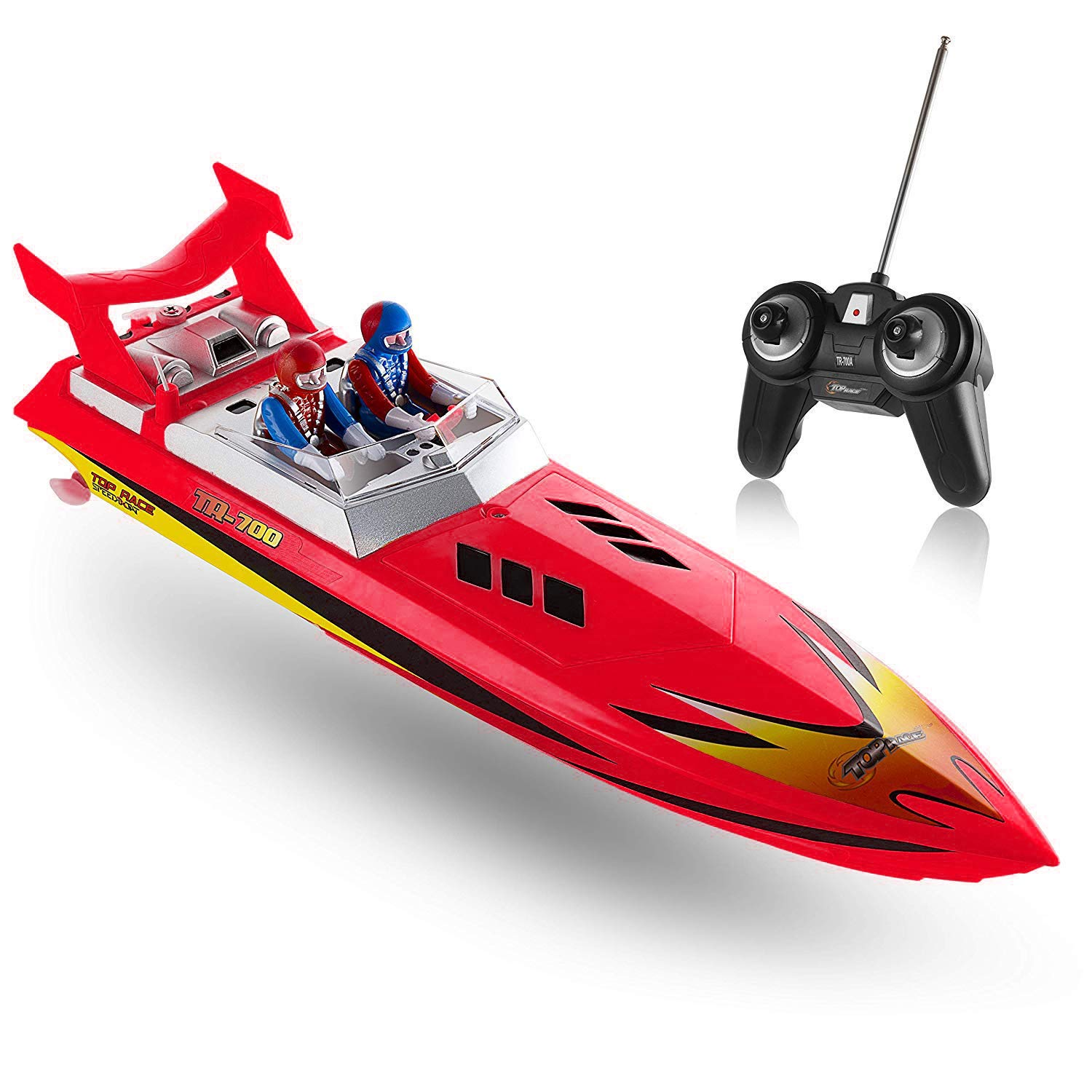 Top Race Remote Control Water Speed Boat, RC Boat for Kids, Perfect Toy for Pools and Lakes 8 MPH (Red)