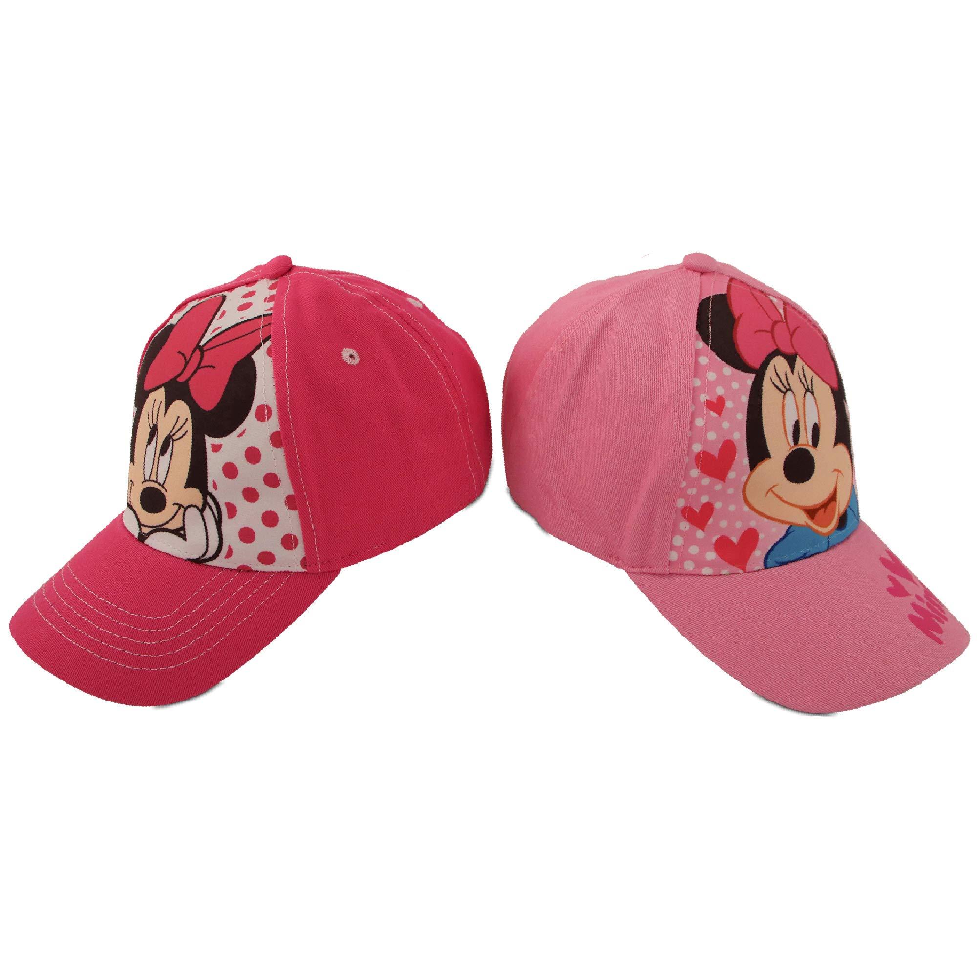 Disney Little Girls Assorted Character Cotton Baseball Cap, 2 Piece Design Set, Age 2-7 (Toddler Girls - Age 2-4 - 51CM, Minnie Mouse Design - 2 Piece Set) by Disney