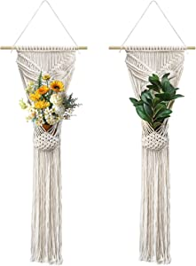 2 Pack Macrame Plant Hangers, Indoor Hanging Planters Basket Handmade Cotton Rope Decorative Flower Pots Wall Art Planter Holder Boho Home Decor (Butterfly)