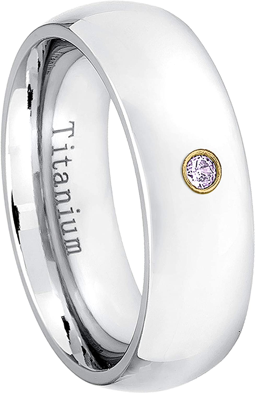 0.07ct Diamond Solitaire Titanium Ring 7MM Comfort Fit Polished Dome White Titanium Wedding Band April Birthstone Ring