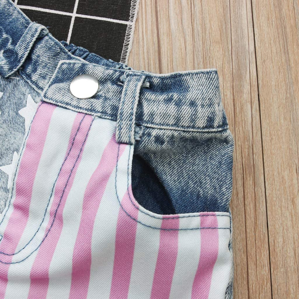 Toddler Kids Baby Girls Fourth Of July Outfits Miss Usa Tank Top Vest Stars Stripes Denim Shorts Clothes Set By Womola