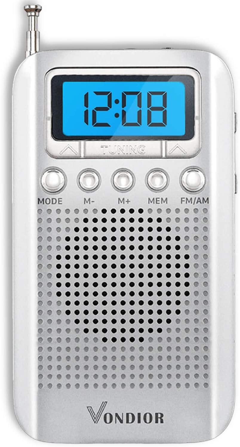 Digital AM FM Portable Pocket Radio with Alarm Clock- Best Reception and Longest Lasting. AM FM Compact Radio Player Operated by 2 AAA Battery, Stereo Headphone Socket (Silver), by Vondior: Electronics